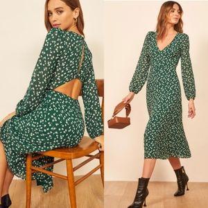 Reformation Joy Floral Open Back Midi Annette Green Dress Size 6